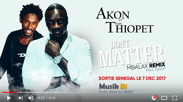You are currently viewing Sénégal : Akon remix Don't Matter avec Pape Thiopet